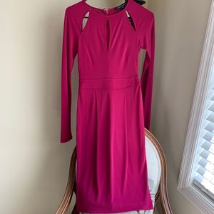 French connection long sleeve Fuchsia dress